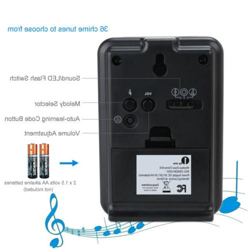 1byone Wireless Door Bell Doorbell Button+Receiver Chimes 36 Sound