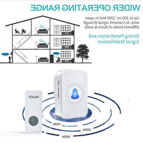 Wireless Doorbell bell Waterproof 55 1 2 Transmitters+1 US