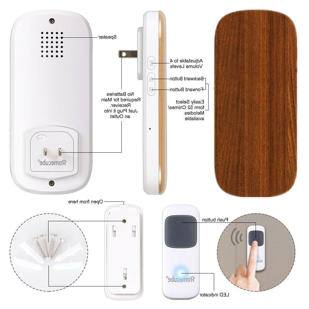 Wireless Doorbell Chime Receiver Transmitter 4 Chime