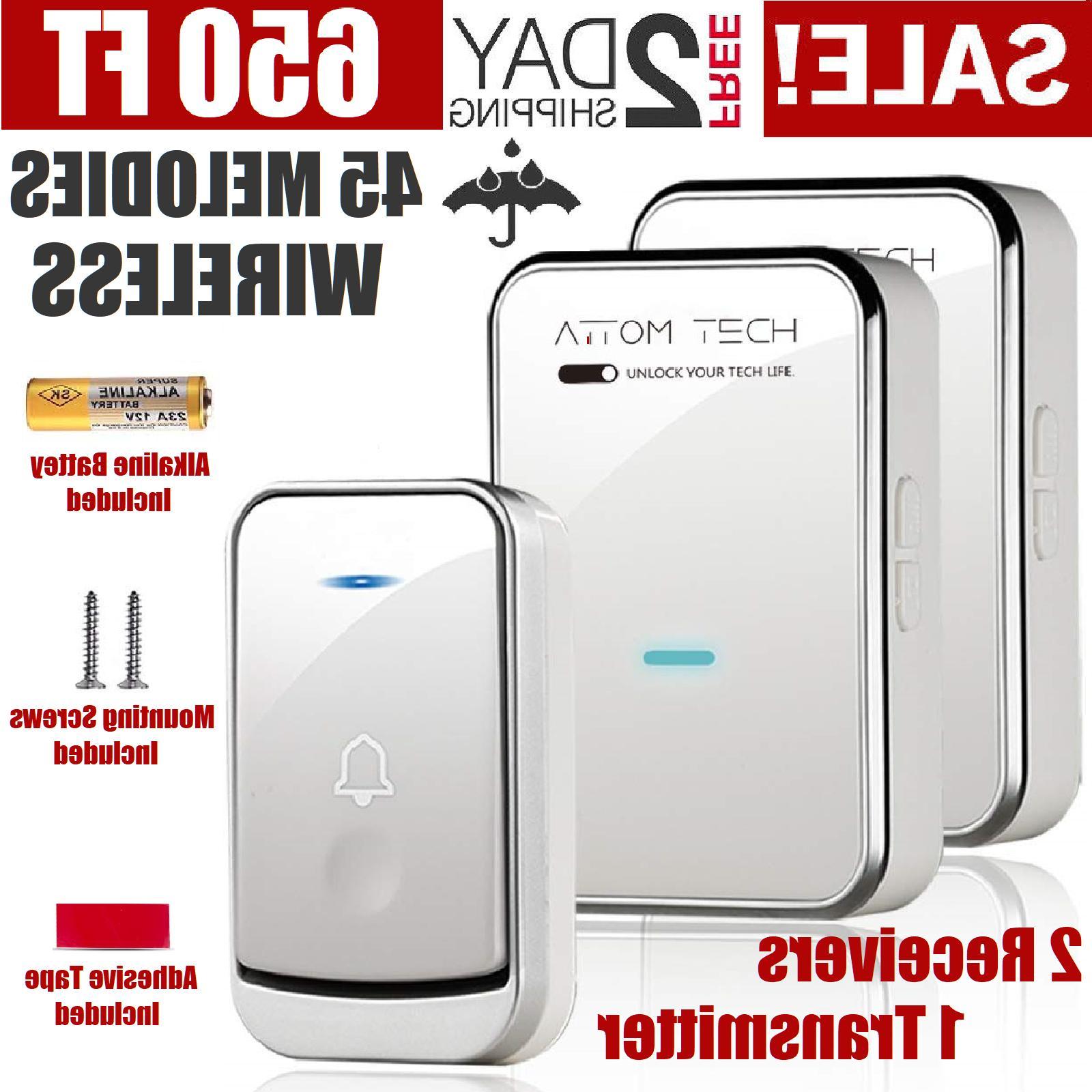 Wireless Doorbell Chime Kit Portable Receiver Waterproof But