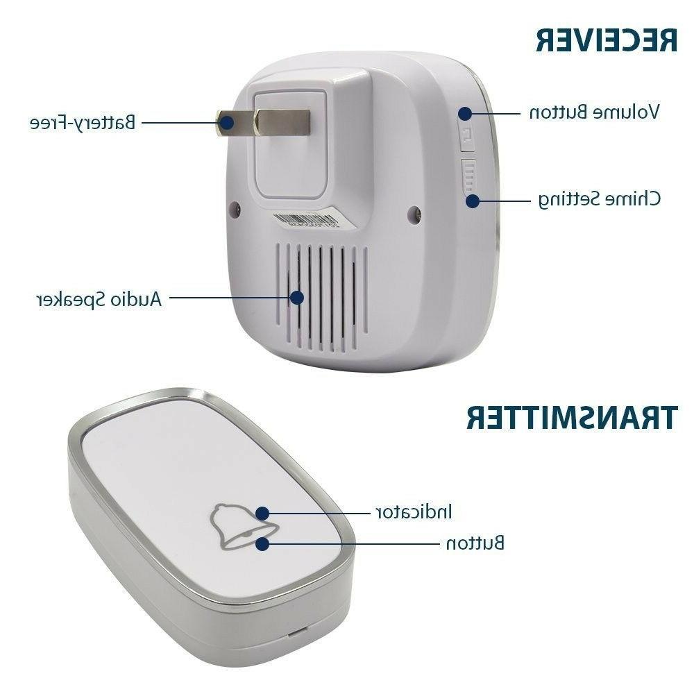 Wireless Doorbell Button 1000Ft Range Home Office Waterproof White