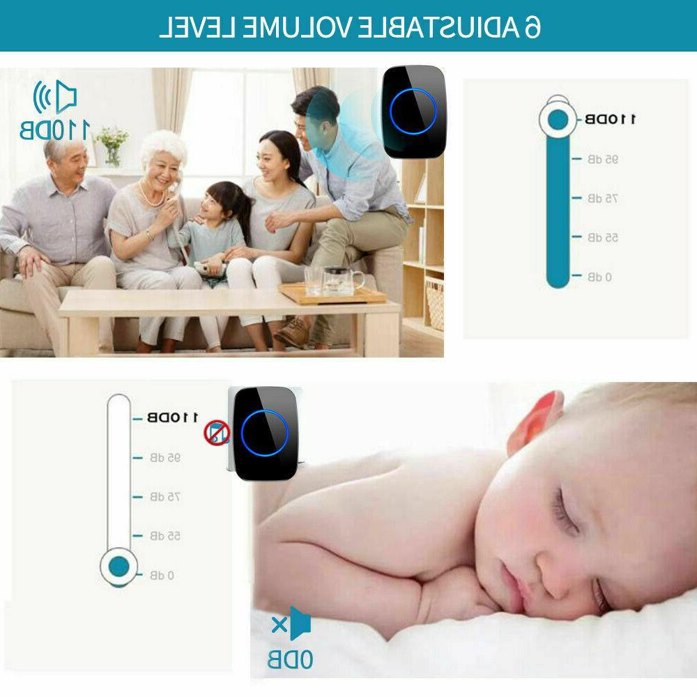 Wireless Doorbell Chime Waterproof Plugin Receiver Adjustable 1000FT