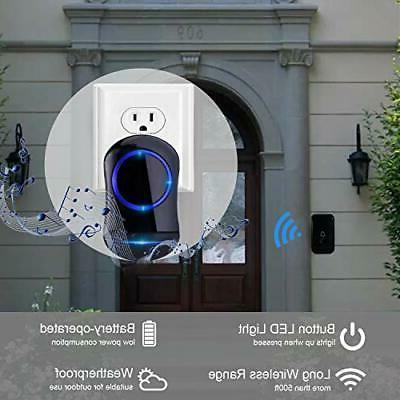 MUCH Wireless Doorbell Waterproof Door Bell 2 Plug-In Receivers