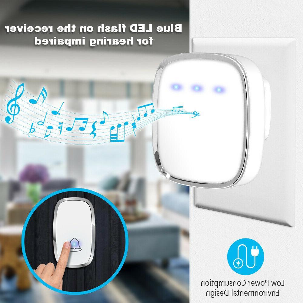Wireless Doorbell, Plug And Play Door Bell Kit,1Push Button&2Receiver