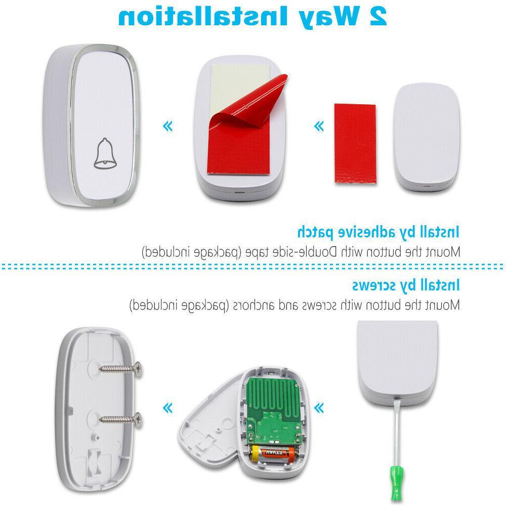 Wireless Play Waterproof Door Kit,1Push Button&2Receiver