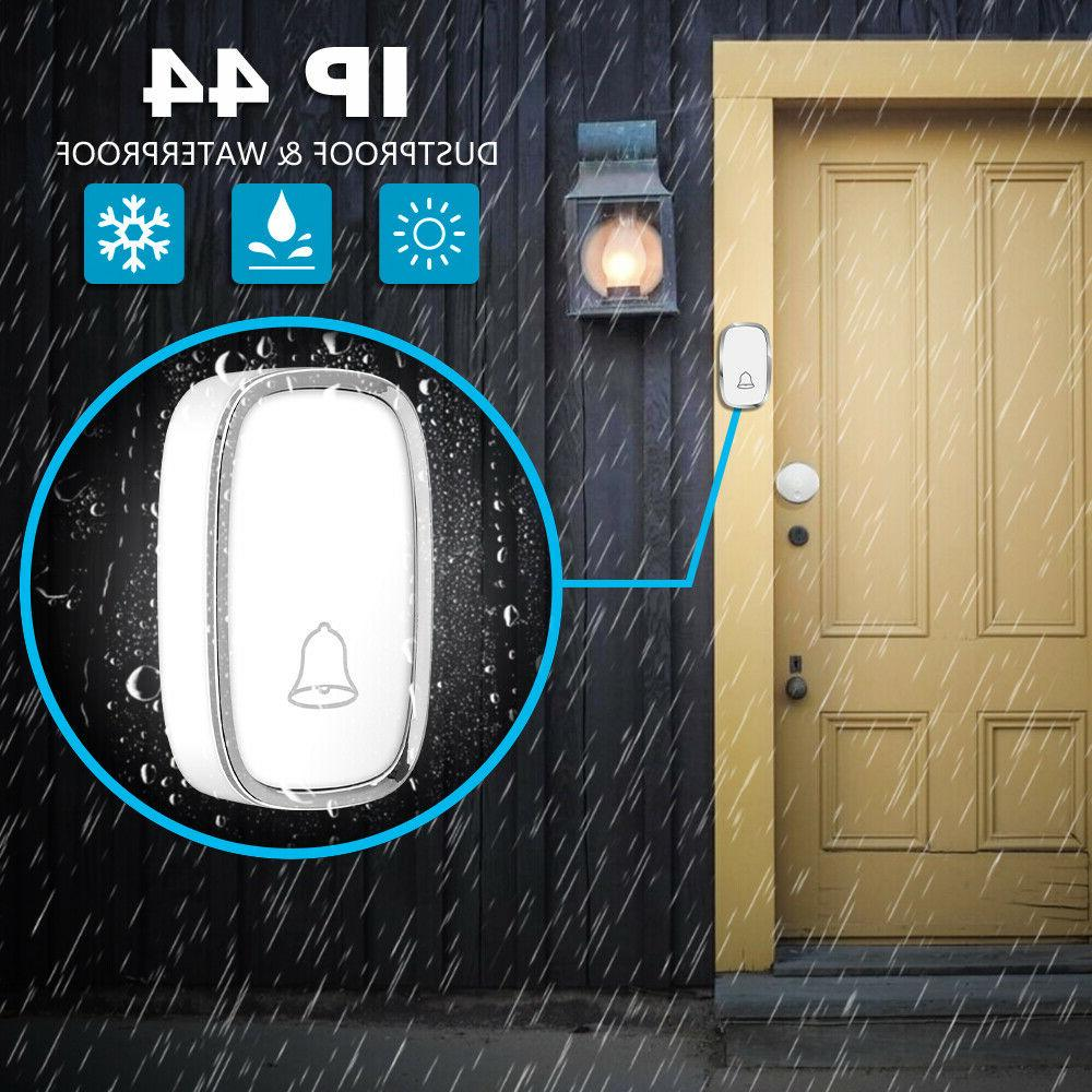 Wireless Doorbell, Play Waterproof Bell Kit,1Push Button&2Receiver