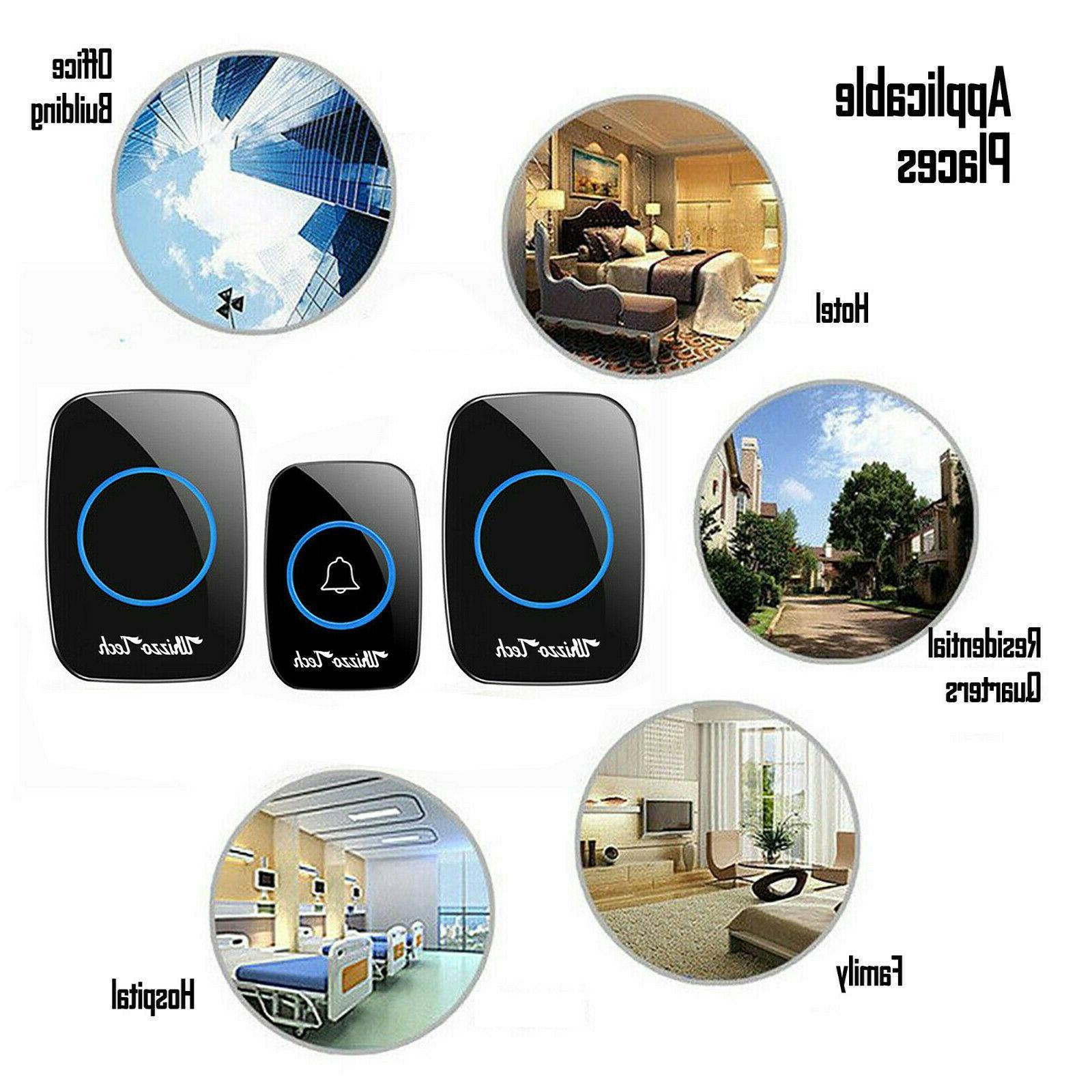Wireless Doorbell Waterproof Plugin 1000FT 38 Chime