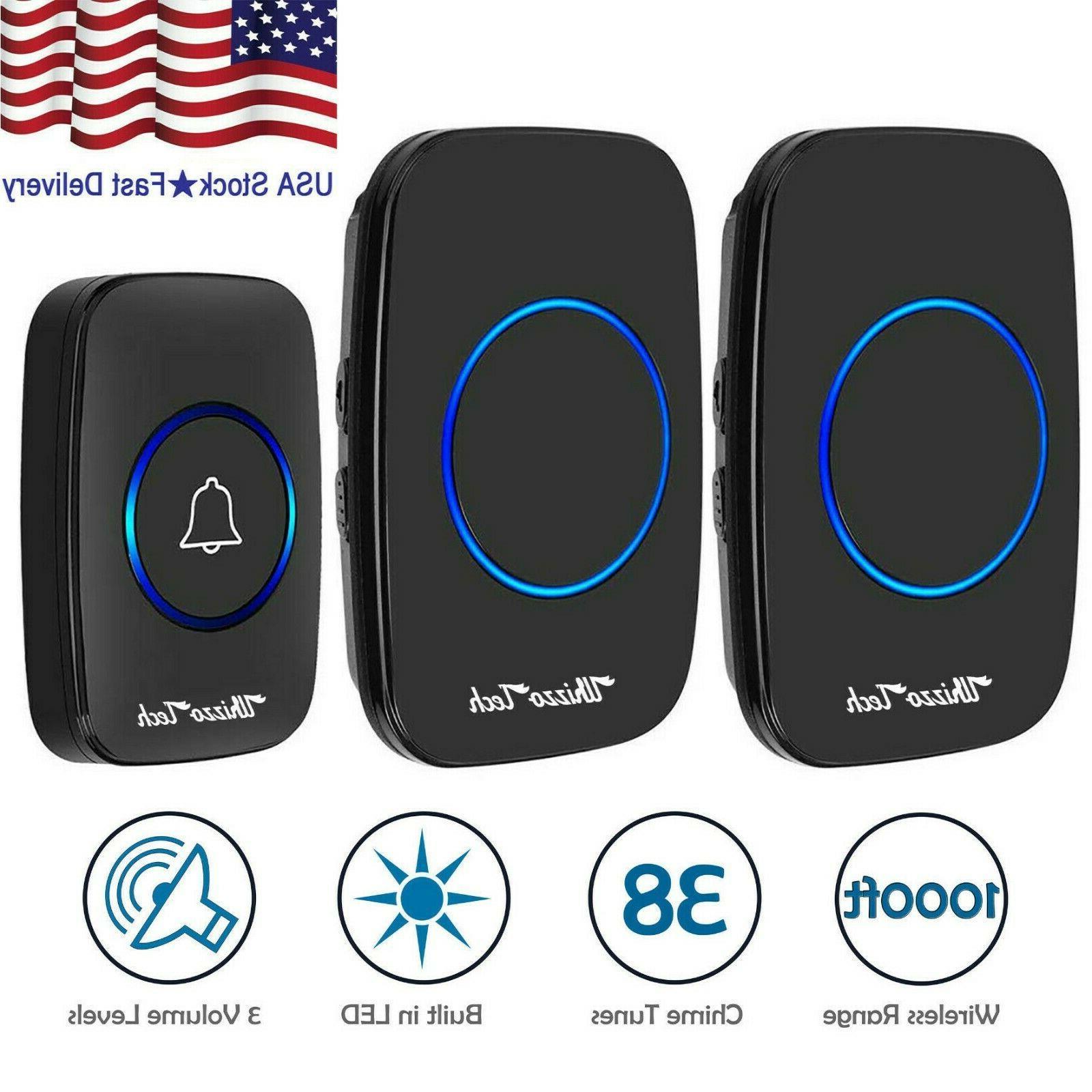 wireless doorbell waterproof 2 plugin receiver adjustable