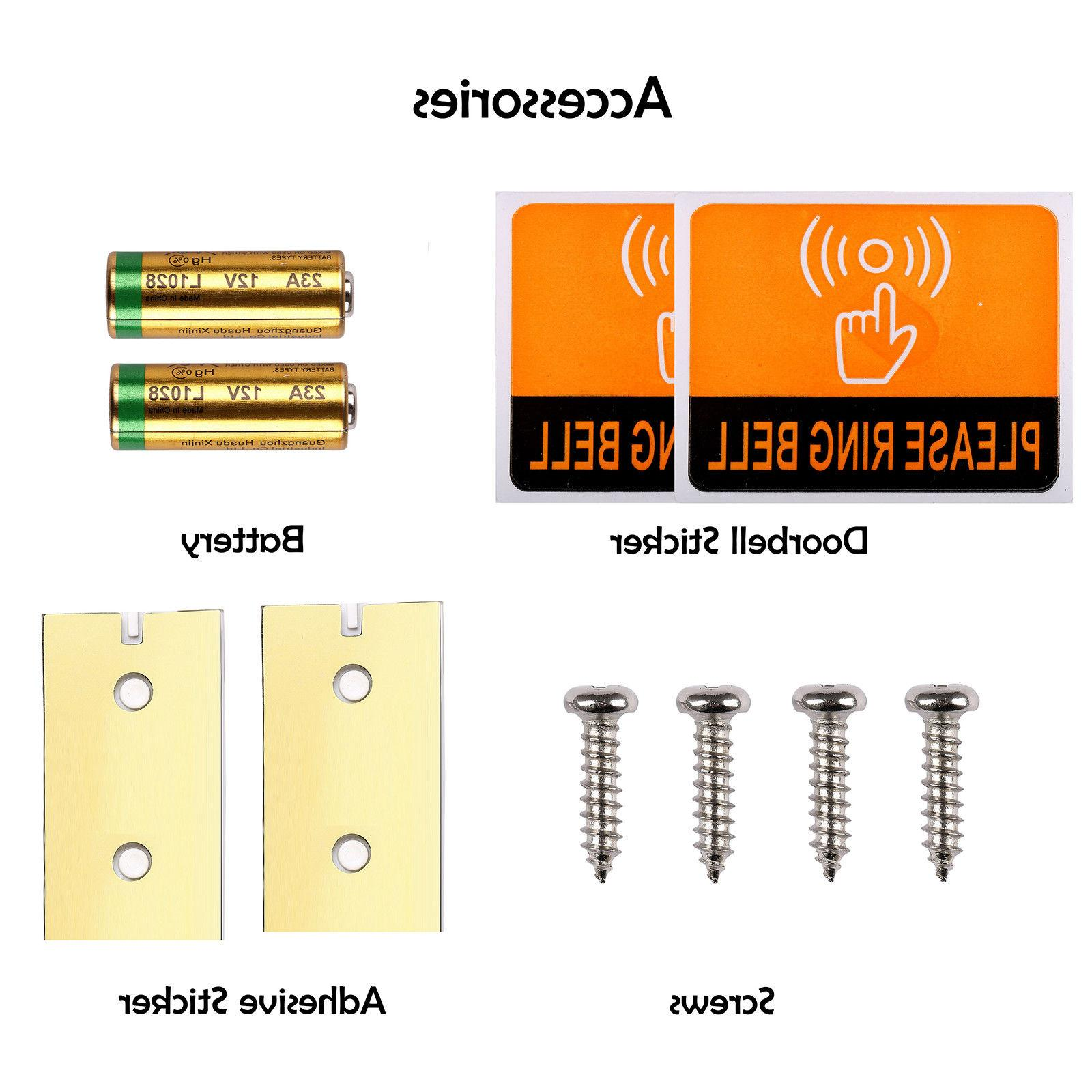 Wireless Doorbell Waterproof Chime Kits Buttons+1 Plug-In