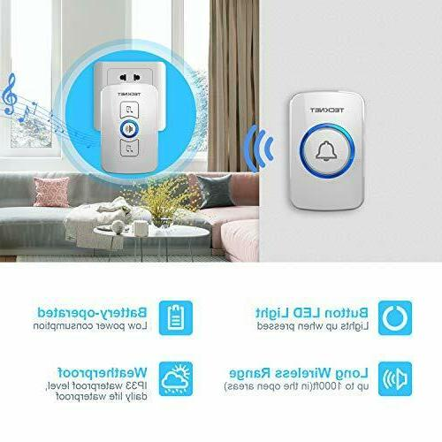 Wireless Doorbell, TeckNet Door Bell Size