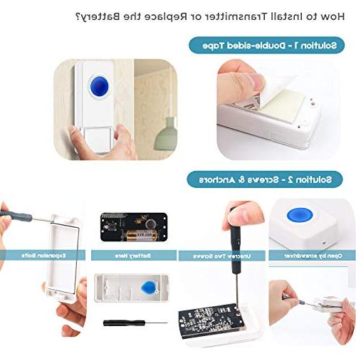 Coolqiya Wireless Doorbells Chimes for Remote Buttons Waterproof in Receiver, No Battery Required Ringtones