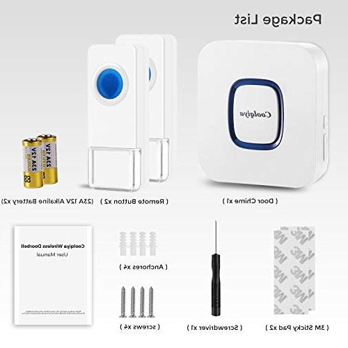 Coolqiya Wireless for Home with 2 Remote Door Buttons Waterproof and in Receiver, No Required Ringtones