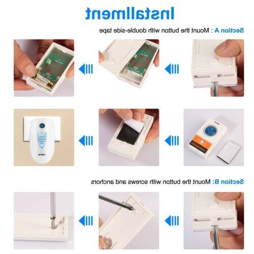 Wireless Doorbells Door Ring Chime 2 Receivers+1 Transmitter