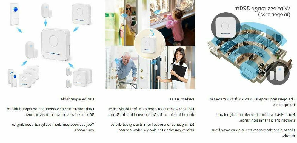 Wireless Sensor Battery Bell Chime with Receiver