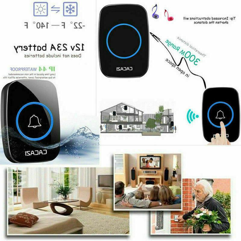 Wireless Waterproof Doorbell with Remote Adjustable 38 Chime