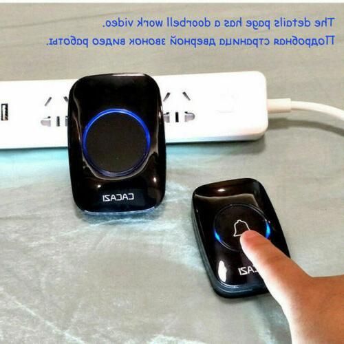 Wireless Doorbell Battery Door Remote Button + Plug US