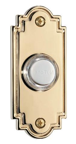 Lighted Flat Pushbutton, Polished Brass