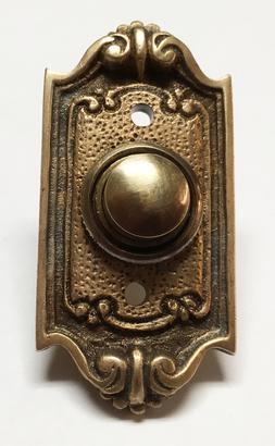 Neoclassical French Shell Doorbell Button, Solid Bronze, Ele