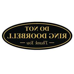 Oval DO NOT RING DOORBELL Thank You Sign - Black / Gold Smal