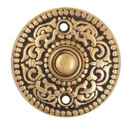Round Scroll Doorbell Button, Solid Brass, Electrical Button