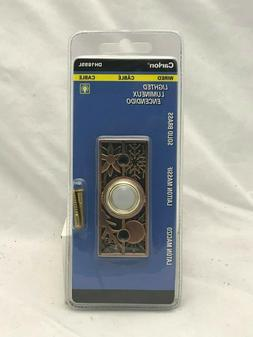Carlon Solid Brass Rectangle Lighted Button Doorbell Wired D
