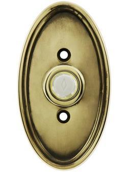 Solid Brass Oval Style Buzzer Button In Antique Brass. Antiq