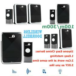 1byone Twin 300/1000FT Wireless Doorbell 36 Chime Push Butto
