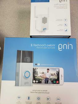 Ring Video Doorbell 2 Satin Nickel NEW + Chime Pro