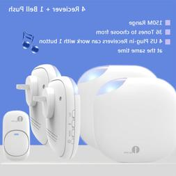 1byone Waterproof LED Wireless Doorbell 36 Different Tones P