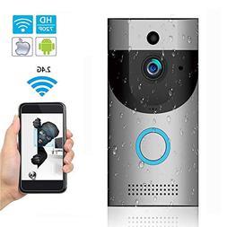 WIFI Video Doorbell, IP65 Waterproof Smart Doorbell 720P 2.4