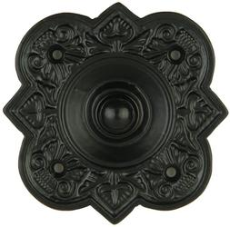Wired Iron Doorbell Chime Push Button in Black Powder Coat F