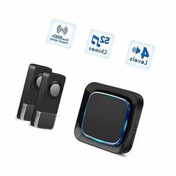 Wireless Door Bell Chime with 2 Waterproof Transmitters and