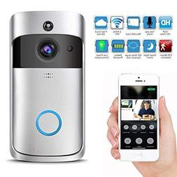 Wireless Video Doorbell with LED Ring Button HD WiFi Camera