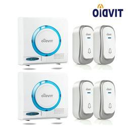 Wireless Doorbell Chime Kit 4*Waterproof Push Buttons+2*Rece