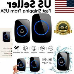 wireless doorbell chime waterproof plugin receiver adjustabl