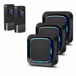 Wireless Doorbell Coolqiya Door Bell Chimes Kit with 3 Plugi