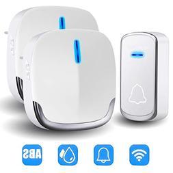 Wireless Doorbell, Waterproof Door Bell Chime Kit with 2 Plu