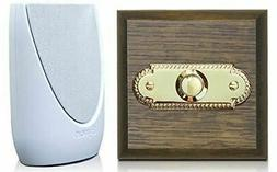 Wireless Doorbell Kit - Period Style Roped Brass Push on a T