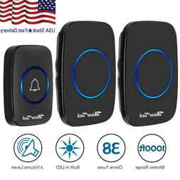Wireless Doorbell Waterproof 2 Plugin Receiver Adjustable Vo