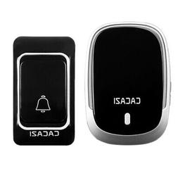 CACAZI Wireless Doorbell Waterproof Battery Button 300M Remo