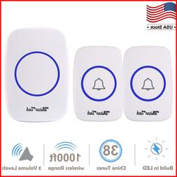 Wireless Doorbell Waterproof Door Chime Kits 2 Remote Button