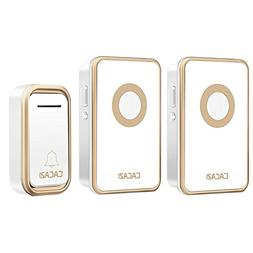 CACAZI Wireless Doorbell with 1 Remote Button and 2 Plugin R